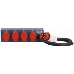 Stromverteiler 16A auf 16A + 3x Schuko