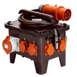 32A Stomverteiler,  4 Schuko-Steckdosen, 16A 400v Steckdosen, Fi, Sicherungen