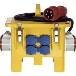 32 Amp. Stomverteiler je 1 CEE-Steckdose 16 A,  3 SCHUKO-Steckdosen, (inkl. RCD)