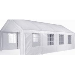 Pavillon 4 x 8m, weiß, PE, kpl mit 4 Seitenwänden, zum Selbstaufbau