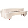Hussen-Set, 50er Festzeltgarnitur, 2x Bank, 1x Tisch, weiß