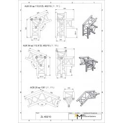 LiteTruss P3-M290, 2 Wege Winkel 135°, Spitze unten ACB 25