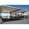 Terrasse aus Traversensystem mit 5 x 10m Dachplane