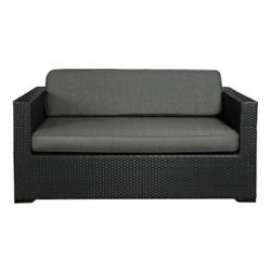 Loungesofa, Sorento, 2-Sitzer, schwarz, Kunststoffgeflecht,incl. Sitz- und Rückenpolster, anthrazit