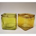 Windlicht Glas gelb-grün 10 x 9,5 x 9,5