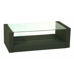 Loungetisch, Greenmotion, Kunststoffgeflecht mit Glasplatte, braun
