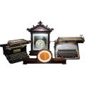 Dekoset nostalgisches Arbeitszimmer (4 tlg, 2 Schreibmaschinen, 1 Kuckucksuhr, 1 Uhr, 0,23 - 0,52cm hoch)