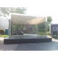 Bühne Zoom, 6x4m, aus Nivtec-System Podesten & Traversendach, Gazé