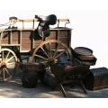 Wild-West Deko- Set klein (Gewehre, Monition, Dynamitkisten, kl. Wagenräder,...)