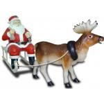 Santa Claus mit Schlitten und Rentier, 1,60m länge