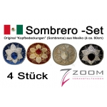 Sombrero-Set, 4 teilige original Deko aus Mexiko (ca. 60cm)