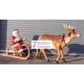 Weihnachtsmann auf Schlitten mit Rentier